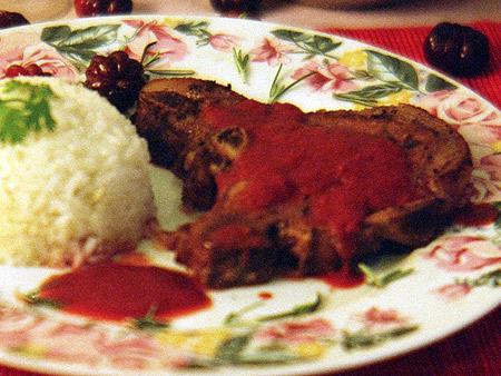 Bisteca de Porco com Molho de Pitanga